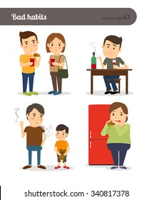 Bad habits. Drunkenness and overeating. Unhealthy lifestyle. Vector illustration