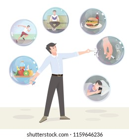 Bad habits and a healthy lifestyle. Color illustration
