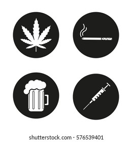 Bad habits icons set. Marijuana leaf, cigarette with smoke, syringe, foamy beer glass. Drugs, smoking and alcohol addictions. Vector white silhouettes illustrations in black circles