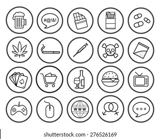 Bad habits linear icons set. Vector line art symbols isolated on white