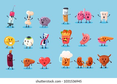 Bad habits and unhealthy human organs characters sett, funny educational vector Illustrations on a light blue background