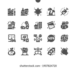 Bad habits. Unhealthy lifestyle. Smoking, hallucinogenic mushrooms, alcohol and drugs. Promiscuous sexual relations. Games of chance. Vector Solid Icons. Simple Pictogram