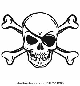 Bad Horror Skull With Eye Patch And Crossbones Black White On Pirate Flag