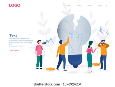 Bad idea, bad solution, people failed, creativity issues, vector illustration for web, presentation, app. Businessman dismal, feeling stress, bad work, big bulb. Startup fail, unsuccessful.