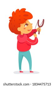Bad kid shooting with slingshot. Little boy hitting windows, naughty troublemaker pulling string and crashing glass. Manners and bad behavior vector illustration.