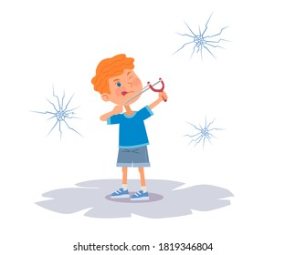 Bad kid shooting windows with slingshot. Little boy hitting windows, naughty troublemaker pulling string and crashing glass. Manners and bad behavior vector illustration.