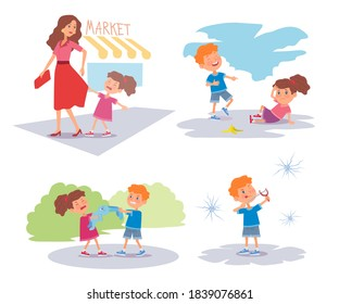 Bad kids arguing and crying set. Little boy laughing at girl falling, kids pulling toy, girl crying, naughty troublemaker hitting windows. Manners and bad behavior vector illustration.