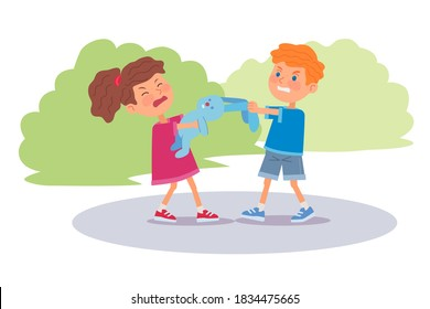 Bad kids arguing and pulling toy. Angry little boy and girl fighting over bunny toy in park outdoor or at playground. Manners and bad behavior vector illustration. Angry expressions.