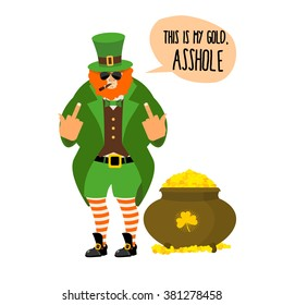 Bad leprechaun shows fuck. Bully with Red Beard. Angry leprechaun who gives not pot of gold. Large pot with gold coin treasure.Nasty midget with smoking a pipe and sunglasses. This is my Gold, asshole