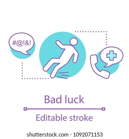 Bad luck concept icon. Injury idea thin line illustration. Misfortune. Vector isolated outline drawing. Editable stroke