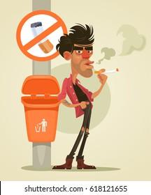 Bad man character smoking under sign no smoke. Vector flat cartoon illustration