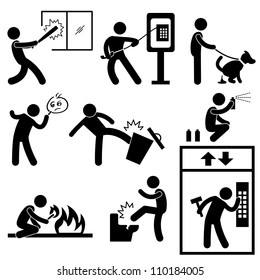 Bad Morale People Vandalism Gangster Icon Symbol Sign Pictogram