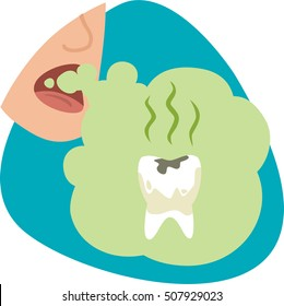 Bad mouth breath. Stinky green cloud with tooth caries. Isolated symbol. On blue background.