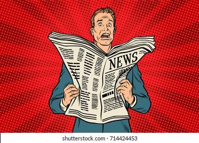 bad news in the newspaper. Businessman shocked. Pop art retro vector illustration