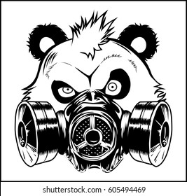 Bad Panda gas mask vector illustration