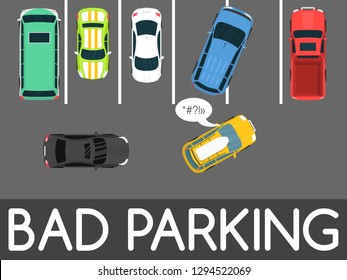 Bad parking vector illustration. Car parked in inappropriate way. Driver annoying everyone. Parking zone conceptual web banner. Rude disrespectful impolite driver in parking lot or car park.