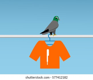 Bad Pigeon Bird shit on t-shirt , vector cartoon