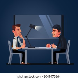 Bad policeman officer cop character arrest and interrogates suspected criminal prisoner asking him question. Crime and law concept. Vector flat cartoon illustration