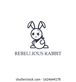 bad rabbit logo vector, cowboy rabbit vector illustration can use for your trademark, branding identity or commercial brand