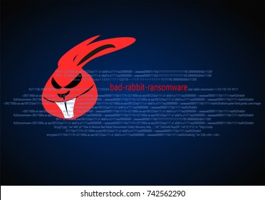 Bad rabbit ransomware attack. Computer technology and cyber security concept