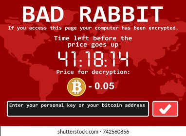Bad rabbit ransomware computer virus encrypter cyber attack screen vector illustration