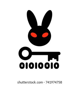 Bad Rabbit ransomware virus, vector illustration. Dangerous Cryptographer icon. Evil rabbit with red eyes, key and binary code, symbol of encryption
