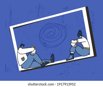 Bad relationship. Communication issues. Young people with bad mood sitting infront each other. Pair in a fight. Couple of young persons after quarrel. Vector illustartion.
