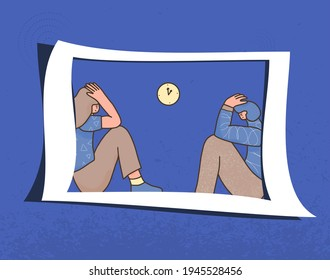Bad relationship. Psychological issues. Young people with bad mood sitting infront each other. Pair in a fight. Couple of young persons after Vector illustartion.