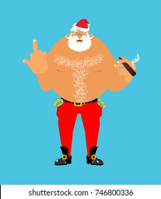 Bad Santa with cigar and fuck. Angry drunk nude Claus. Harmful Christmas ruffian. Aggression sign. foul guy for new year. Xmas hooligan