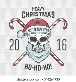 Bad Santa Claus biker with candies print design. Heavy metal Christmas portrait. Rock and roll 2016 new year t-shirt illustration.