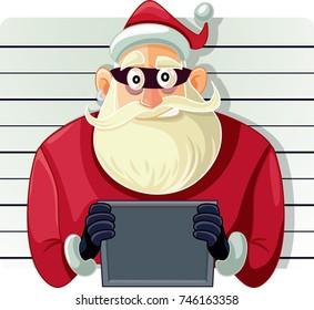 Bad Santa Police Mugshot  Vector Cartoon - Arrested Masked Santa Man Going To Jail