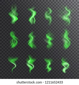 Bad smell, stench, whiff or steaming vapor collection. Realistic vector set of green steam waves, odor symbols, shitty toxic mist for illustrations with smoky effect