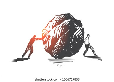 Bad teamwork, misunderstanding concept sketch. Hand drawn isolated vector
