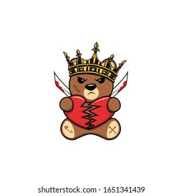 Bad teddy bear cartoon vector illustration. For Cool t shirt design, sticker print, logo design. Isolated on white background