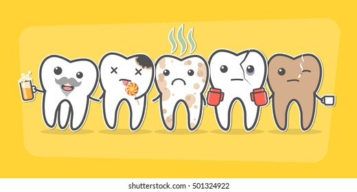 Bad teeth company. Problematic sick and unhealthy teeth concept. Funny cartoon characters. Vector illustration