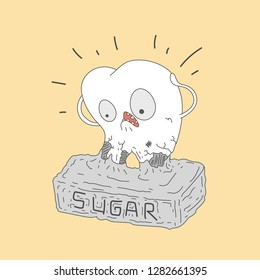 Bad tooth with caries cavity. Sweets provoke dental caries concept. Vector illustration
