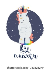 Bad unicorn. Quarrelsome unicorn. Hand drawn vector illustration