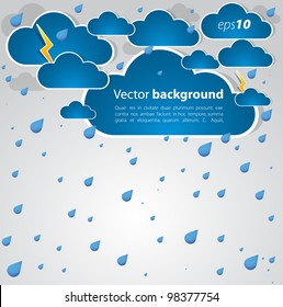 Bad weather background. sky with clouds and lightnings