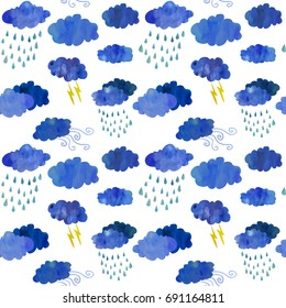 Bad weather day. Thunder and rain clouds. Colorful seamless pattern. Watercolour imitation.