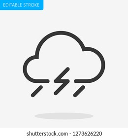 Bad Weather Icon Rain Editable Stroke. Pixel Perfect. - Vector