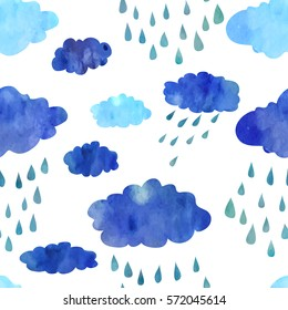 Bad weather and rainy clouds. Seamless pattern.