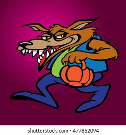 Bad wolf cartoon character. Vector clip art illustration