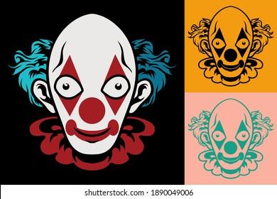 Badass illustration for shirt design. Rock and horror vector. Eps 10. Scary clown vector