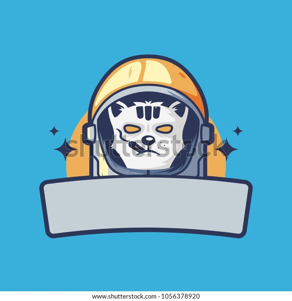 Badass Smoking Cat Astronaut Helmet Illustration Stock