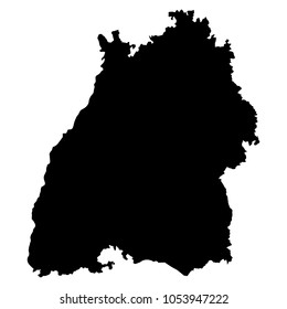 Baden-Wurttemberg black map on white background vector