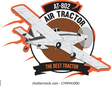 A badge of air tractor airplane. The bigger crop duster.