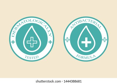The badge is an antibacterial formula, a seal with a guaranteed seal and a dermatological proven test, a medical logo for sensitive skin.