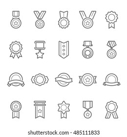 Badge Awards vector outline stroke icons set