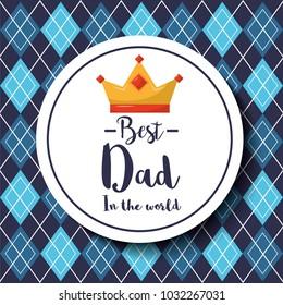 badge best dad in the world crown argyle pattern background