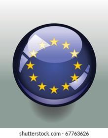 Badge button with European Union flag